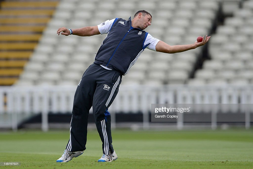 Tim Bresnan of England takes part in a fielding drill during a nets session at Edgbaston on June 5, 2012 in Birmingham, England.