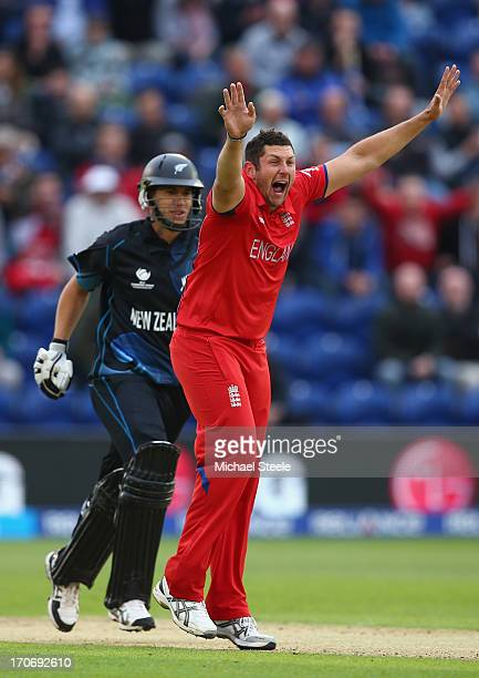 Tim Bresnan of England traps Ross Taylor of New Zealand lbw during the ICC Champions Trophy Group A match between England and New Zealand at the...