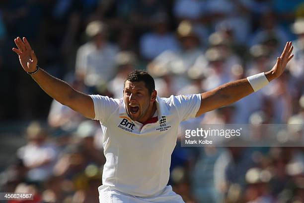 Tim Bresnan of England unsuccessfully appeals during day three of the Third Ashes Test Match between Australia and England at WACA on December 15...