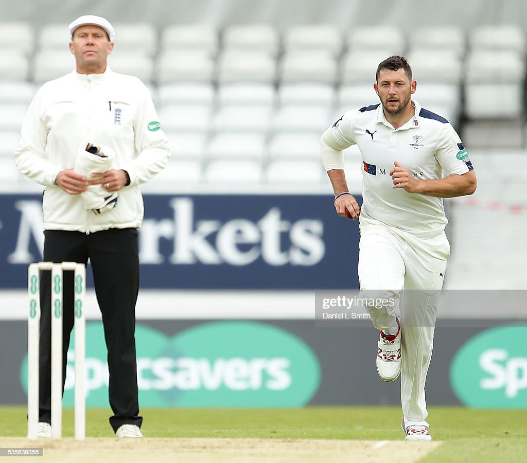<a gi-track='captionPersonalityLinkClicked' href=/galleries/search?phrase=Tim+Bresnan&family=editorial&specificpeople=571509 ng-click='$event.stopPropagation()'>Tim Bresnan</a> of Lancashire bowls during day two of the Specsavers County Championship: Division One match between Yorkshire and Lancashire at Headingley on May 30, 2016 in Leeds, England.