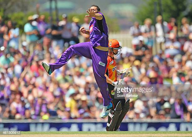 Tim Bresnan of the Hurricanes celebrates after dismissing Michael Klinger of the Scorchers during the Big Bash League match between the Hobart...