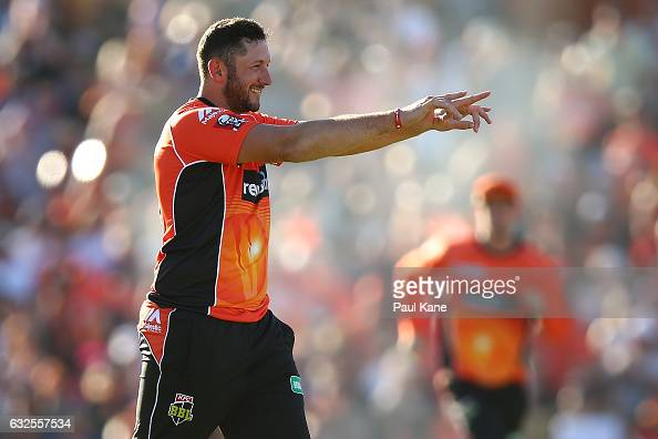 Tim Bresnan of the Scorchers acknowledges Ashton Agar after taking a catch to dismiss Seb Gotch of the Starsduring the Big Bash League match between...