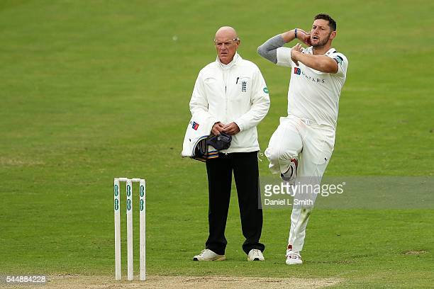 Tim Bresnan of Yorkshire bowls during day two of the Specsavers County Championship division one match between Yorkshire and Middlesex at North...