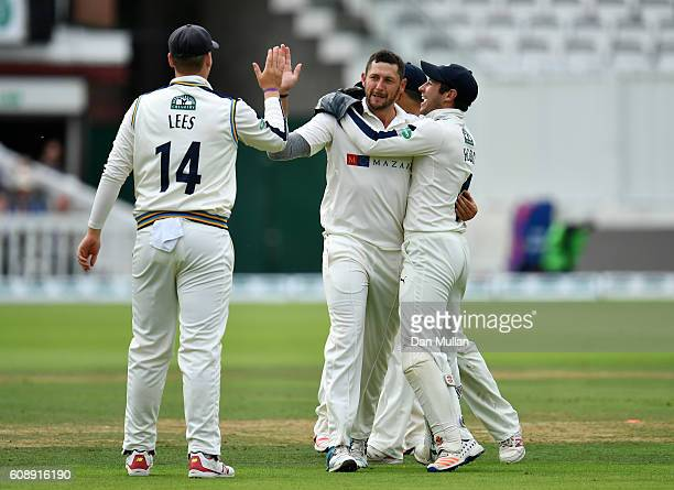 Tim Bresnan of Yorkshire celebrates after claiming the wicket of Stephen Eskinazi of Middlesex during day one of the Specsavers County Championship...