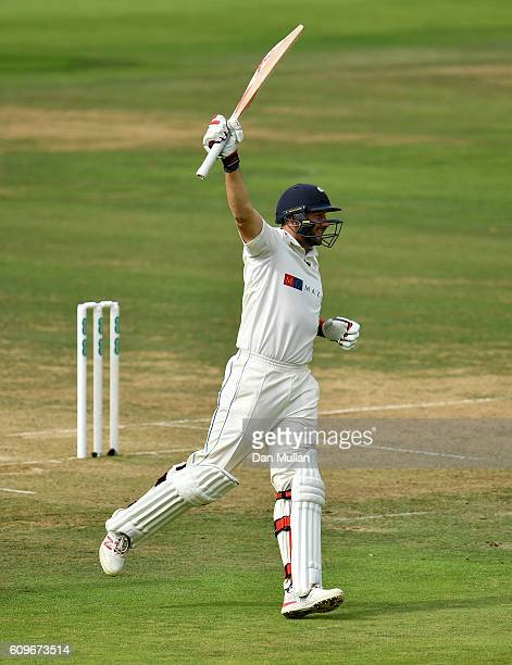 Tim Bresnan of Yorkshire celebrates reaching his century during day three of the Specsavers County Championship Division One match between Middlesex...