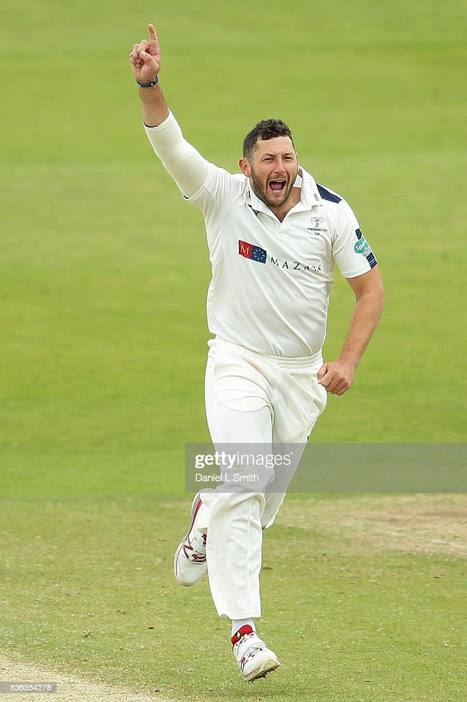 Tim Bresnan of Yorkshire celebrates the dismissal of Alviro Petersen of Lancashire dismissal during day four of the Specsavers County Championship...