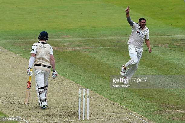 Tim Bresnan of Yorkshire celebrates the wicket of Sam Robson of Middlesex caught by Alex Lees at first slip for 26 during the LV County Championship...
