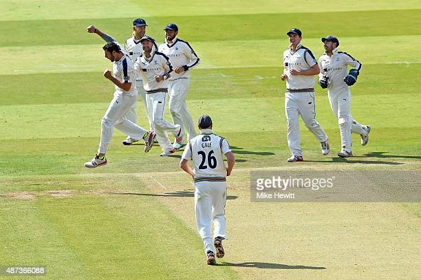 Tim Bresnan of Yorkshire celebrates the wicket of Toby RolandJones of Middlesex trapped lbw during the LV County Championship match between Middlesex...