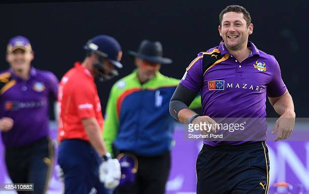 Tim Bresnan of Yorkshire celebrates their first wicket during the Royal London OneDay Cup Quarter Final match between Essex and Yorkshire at The...