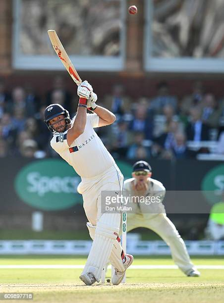 Tim Bresnan of Yorkshire hits a boundary during day four of the Specsavers County Championship match between Middlesex and Yorkshire at Lords on...