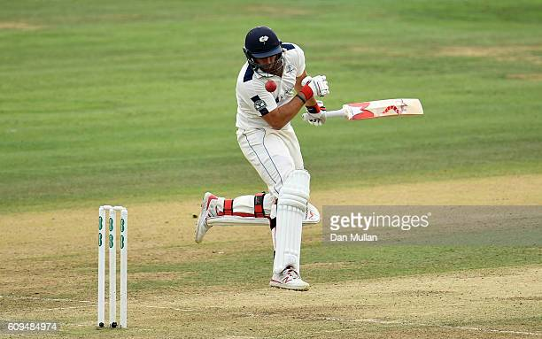 Tim Bresnan of Yorkshire is hit by a bowl from Steven Finn of Middlesex during day two of the Specsavers County Championship match between Middlesex...
