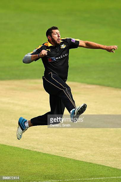 Tim Bresnan of Yorkshire reacts after the dismissal of Kumar Sangakkara of Surrey during the Royal London OneDay Cup Semi Final match between...