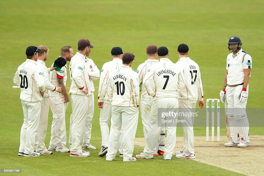 <a gi-track='captionPersonalityLinkClicked' href=/galleries/search?phrase=Tim+Bresnan&family=editorial&specificpeople=571509 ng-click='$event.stopPropagation()'>Tim Bresnan</a> of Yorkshire remains at the crease as Lancashire look on for the umpires decision during day three of the Specsavers County Championship: Division One match between Yorkshire and Lancashire at Headingley on May 31, 2016 in Leeds, England.