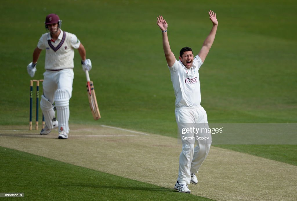 <a gi-track='captionPersonalityLinkClicked' href=/galleries/search?phrase=Tim+Bresnan&family=editorial&specificpeople=571509 ng-click='$event.stopPropagation()'>Tim Bresnan</a> of Yorkshire successfully appeals for the wicket of <a gi-track='captionPersonalityLinkClicked' href=/galleries/search?phrase=Nick+Compton&family=editorial&specificpeople=654760 ng-click='$event.stopPropagation()'>Nick Compton</a> of Somerset during day three of the LV County Championship Division One match between Yorkshire and Somerset at Headingley on May 09, 2013 in Leeds, England.