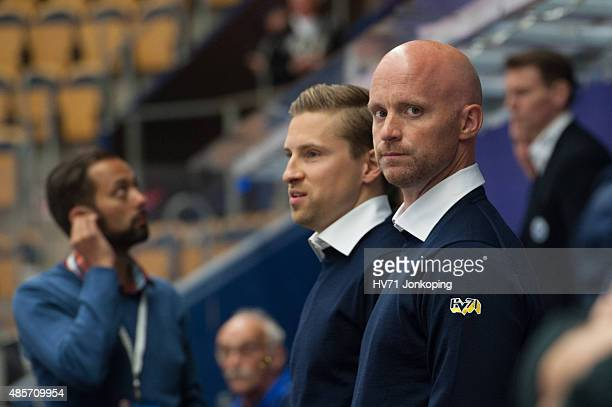 Tim Brithen assistant coach of HV71 looks on during the Champions Hockey League group stage game between HV71 Jonkoping and SonderjyskE Vojens on...