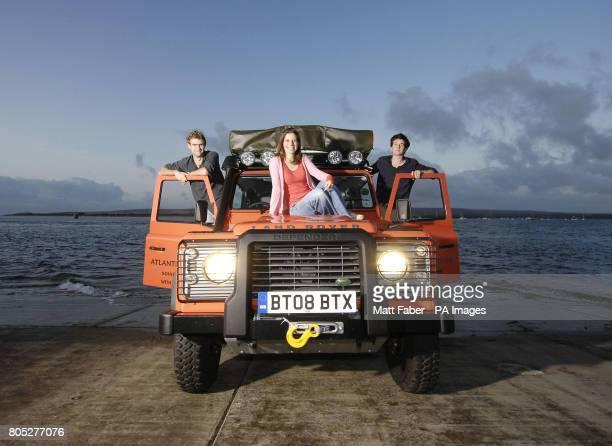 Tim Bromfield Lynn Morris and Will Lorimer of Atlantic Rising winners of the 2009 RGSIBG 'Go Beyond' Bursary stand next to their Land Rover Defender...