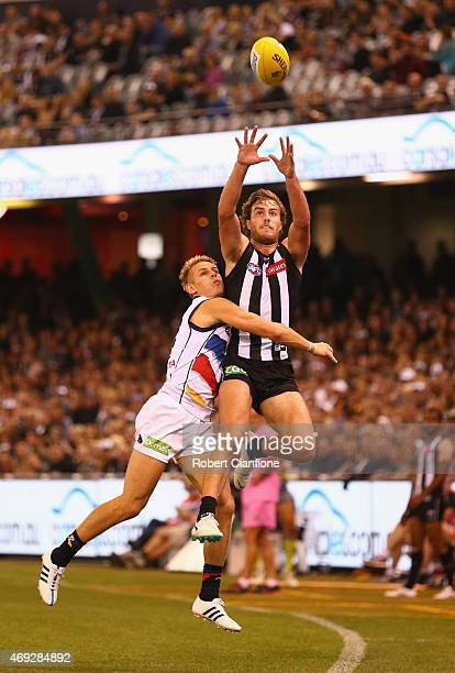 Tim Broomhead of the Magpies attempts to mark the ball during the round two AFL match between the Collingwood Magpies and the Adelaide Crows at...