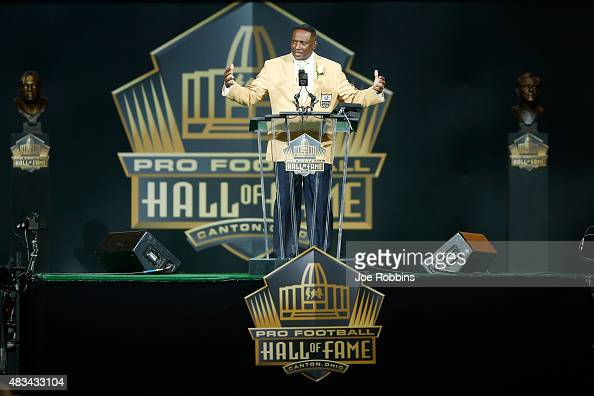 Tim Brown speaks during the NFL Hall of Fame induction ceremony at Tom Benson Hall of Fame Stadium on August 8 2015 in Canton Ohio