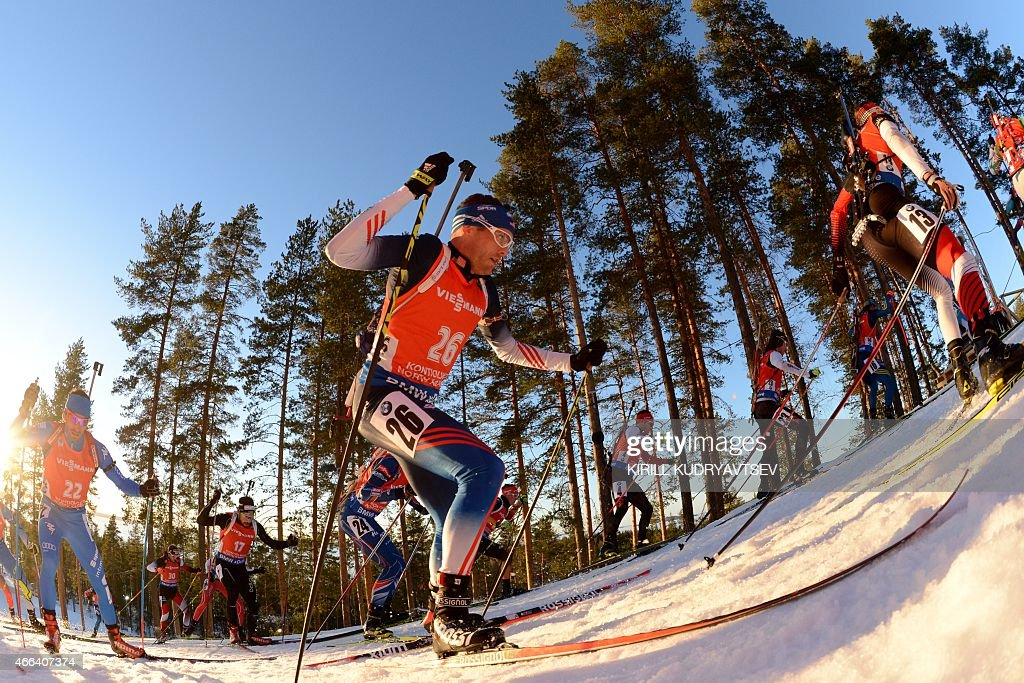US <a gi-track='captionPersonalityLinkClicked' href=/galleries/search?phrase=Tim+Burke+-+Biathlete&family=editorial&specificpeople=816786 ng-click='$event.stopPropagation()'>Tim Burke</a> competes during the Men 15 km Mass Start at the IBU Biathlon World Championship in Kontiolahti, Finland on March 15, 2015.