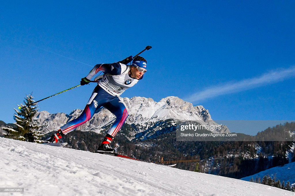 <a gi-track='captionPersonalityLinkClicked' href=/galleries/search?phrase=Tim+Burke+-+Biathlete&family=editorial&specificpeople=816786 ng-click='$event.stopPropagation()'>Tim Burke</a> of the United States competes during the IBU Biathlon World Cup Men's and Women's Sprint on December 12, 2014 in Hochfilzen, Austria.