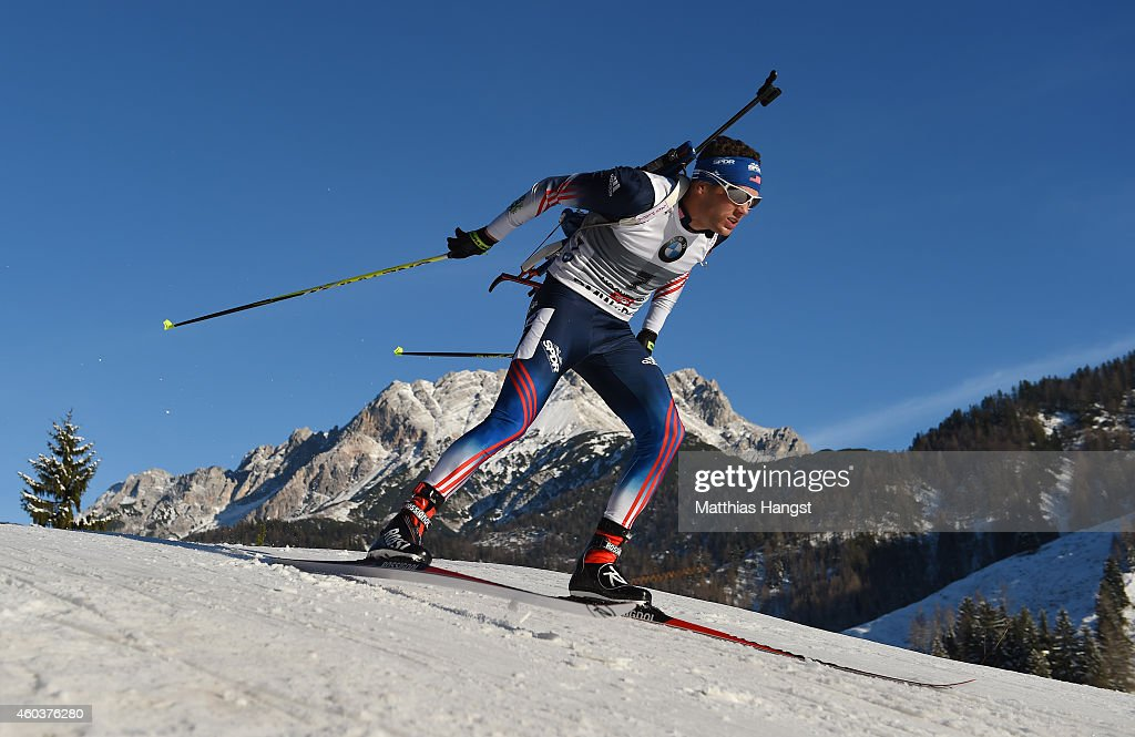<a gi-track='captionPersonalityLinkClicked' href=/galleries/search?phrase=Tim+Burke+-+Biathlete&family=editorial&specificpeople=816786 ng-click='$event.stopPropagation()'>Tim Burke</a> of the Unites States competes in the men's 10 km sprint event during the IBU Biathlon World Cup on December 12, 2014 in Hochfilzen, Austria.