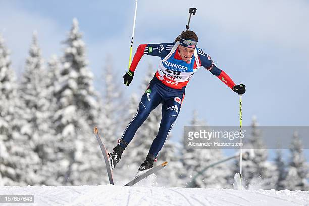 Tim Burke of the US competes in the men's 10km sprint event during the IBU Biathlon World Cup on December 7 2012 in Hochfilzen Austria