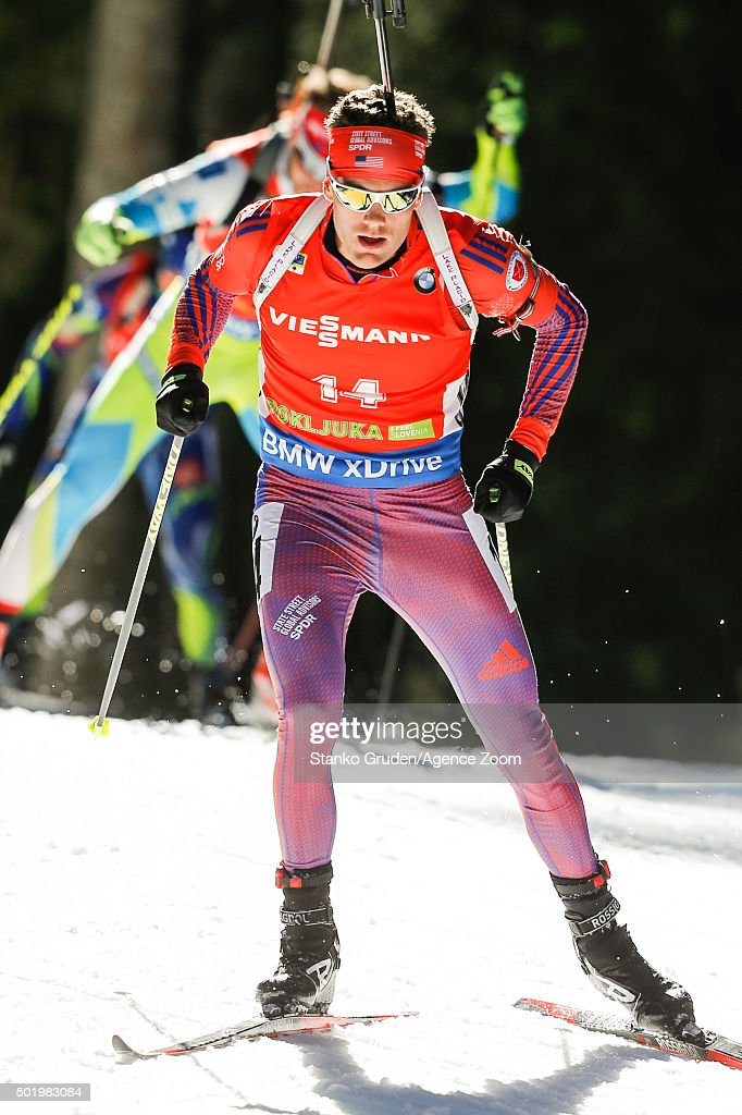 <a gi-track='captionPersonalityLinkClicked' href=/galleries/search?phrase=Tim+Burke+-+Biathlete&family=editorial&specificpeople=816786 ng-click='$event.stopPropagation()'>Tim Burke</a> of the USA competes during the IBU Biathlon World Cup Men's and Women's Pursuit on December 19, 2015 in Pokljuka, Slovenia.