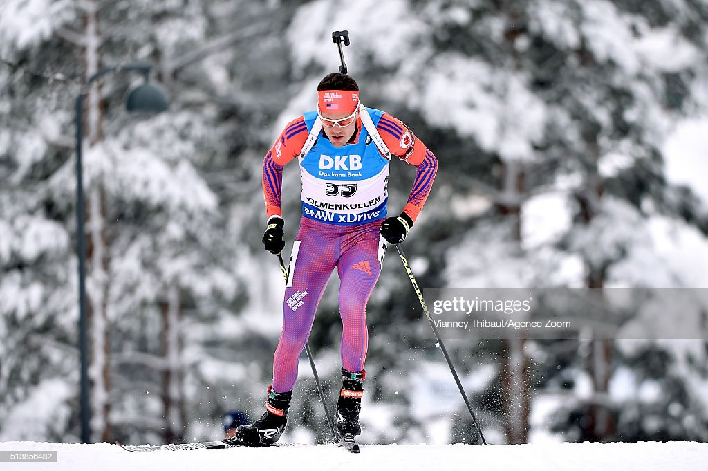 <a gi-track='captionPersonalityLinkClicked' href=/galleries/search?phrase=Tim+Burke+-+Biathlete&family=editorial&specificpeople=816786 ng-click='$event.stopPropagation()'>Tim Burke</a> of the USA competes during the IBU Biathlon World Championships Men's and Women's Sprint on March 5, 2016 in Oslo, Norway.