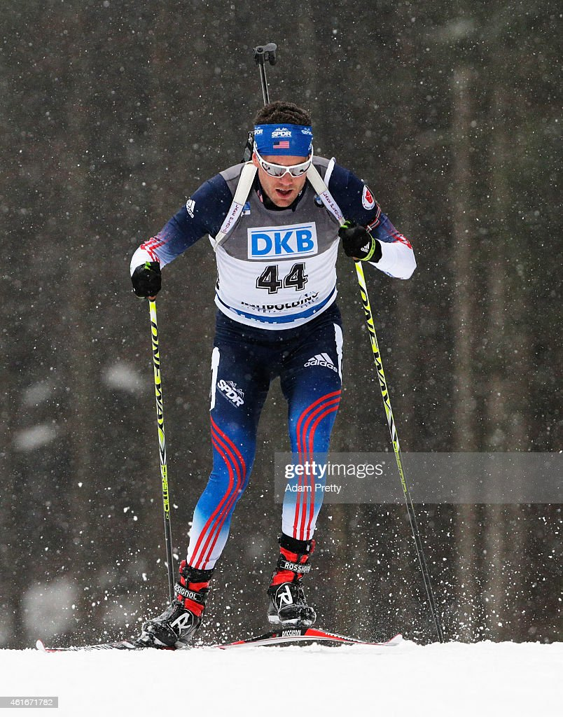 <a gi-track='captionPersonalityLinkClicked' href=/galleries/search?phrase=Tim+Burke+-+Biathlete&family=editorial&specificpeople=816786 ng-click='$event.stopPropagation()'>Tim Burke</a> of the USA in action during the IBU Biathlon World Cup Men's Sprint on January 17, 2015 in Ruhpolding, Germany.