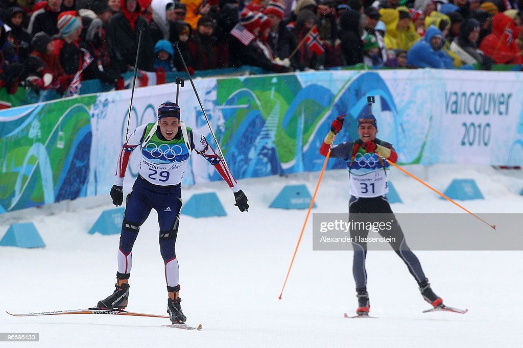 <a gi-track='captionPersonalityLinkClicked' href=/galleries/search?phrase=Tim+Burke+-+Biathlete&family=editorial&specificpeople=816786 ng-click='$event.stopPropagation()'>Tim Burke</a> of United States and <a gi-track='captionPersonalityLinkClicked' href=/galleries/search?phrase=Michael+Greis&family=editorial&specificpeople=702831 ng-click='$event.stopPropagation()'>Michael Greis</a> of Germany competes in the men's biathlon 10 km sprint final on day 3 of the 2010 Winter Olympics at Whistler Olympic Park Biathlon Stadium on February 14, 2010 in Whistler, Canada.