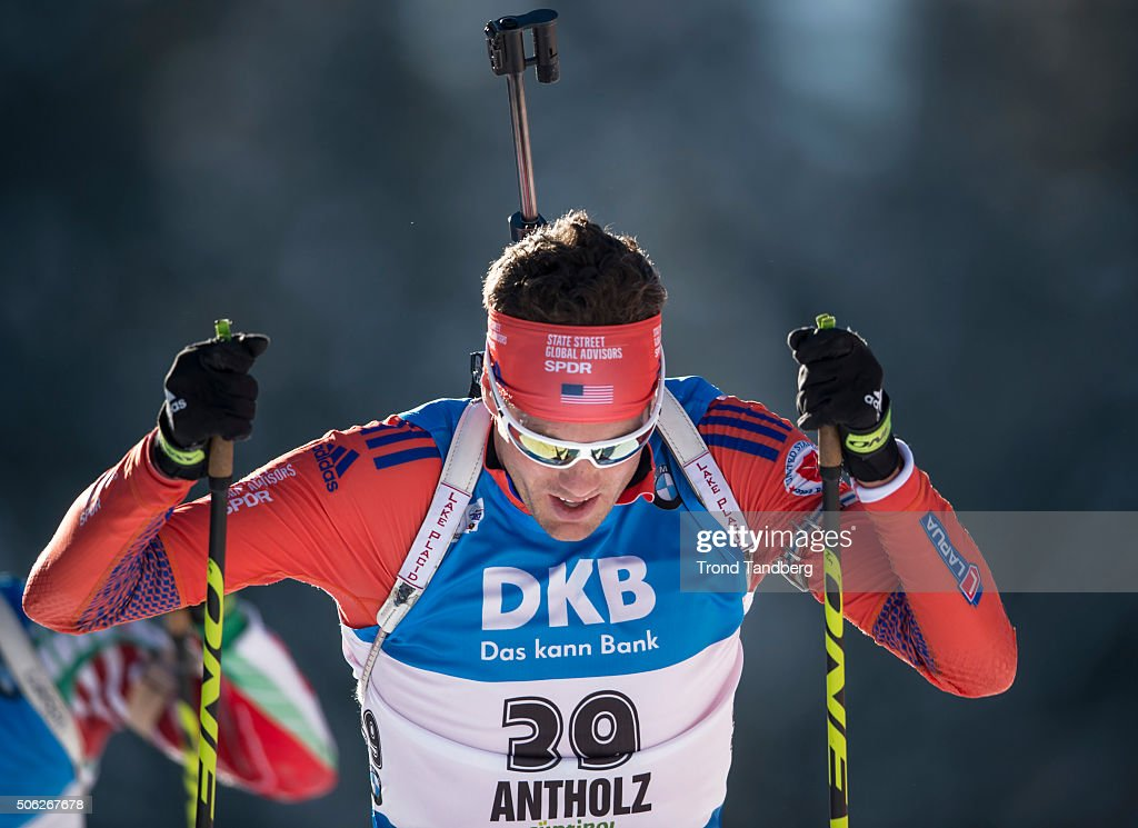 <a gi-track='captionPersonalityLinkClicked' href=/galleries/search?phrase=Tim+Burke+-+Biathlete&family=editorial&specificpeople=816786 ng-click='$event.stopPropagation()'>Tim Burke</a> of USA in action during the Biathlon Men 10 km Sprint at the IBU Biathlon World Cup Antholtz on January 22, 2016 in Antholtz, Italy.