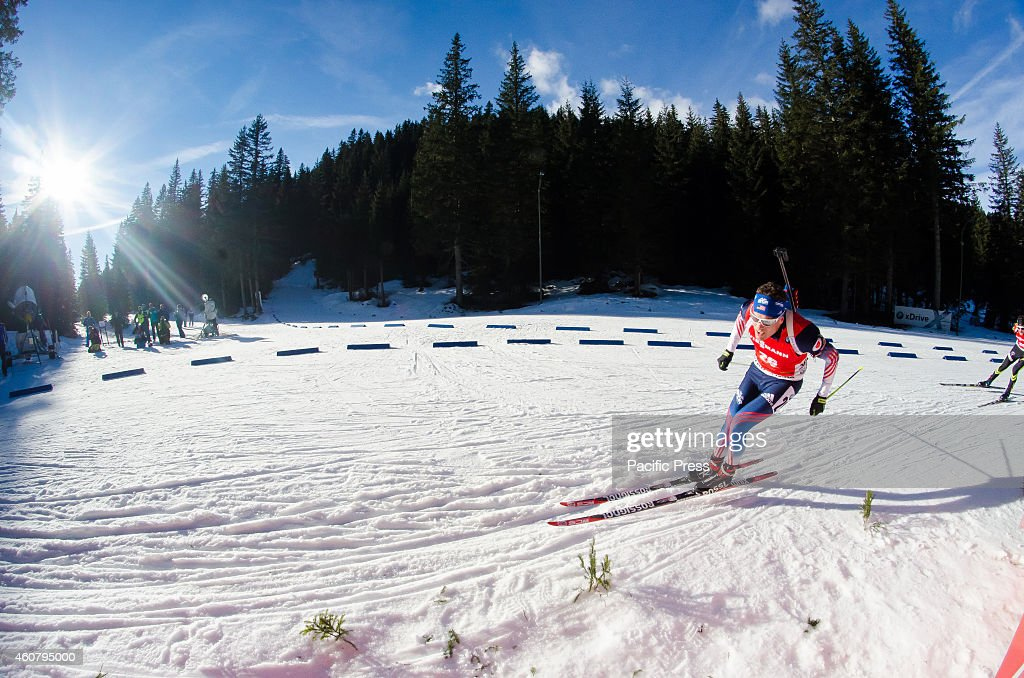 <a gi-track='captionPersonalityLinkClicked' href=/galleries/search?phrase=Tim+Burke+-+Biathlete&family=editorial&specificpeople=816786 ng-click='$event.stopPropagation()'>Tim Burke</a> (USA) on the course during Biathlon World Cup 12,5km men pursuit on Pokljuka 2014.