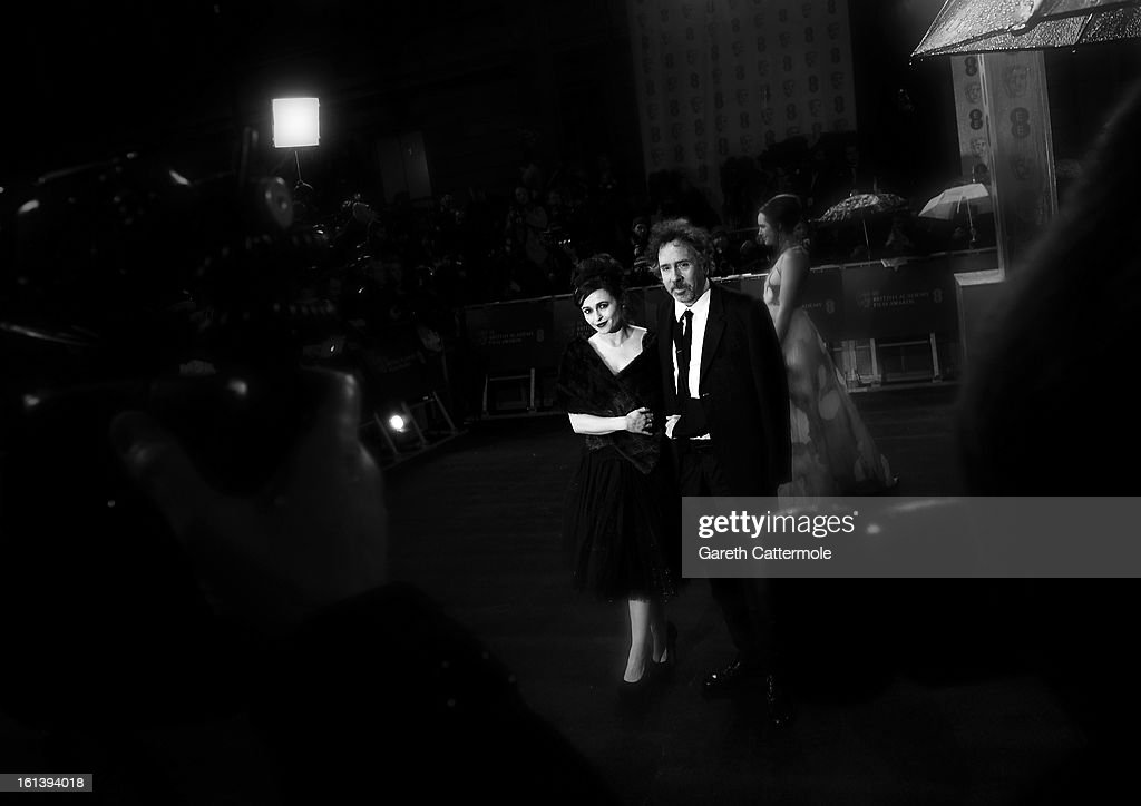 Tim Burton and Helena Bonham Carter attend the EE British Academy Film Awards at The Royal Opera House on February 10 2013 in London England
