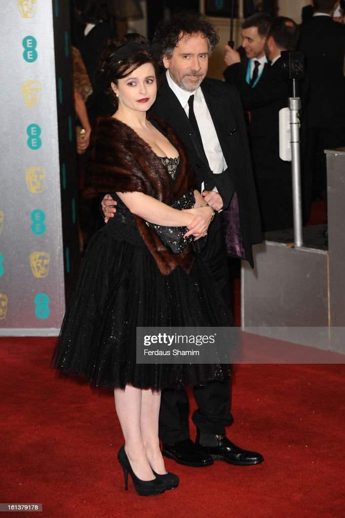 Tim Burton and Helena Bonham Carter attends the EE British Academy Film Awards at The Royal Opera House on February 10, 2013 in London, England.