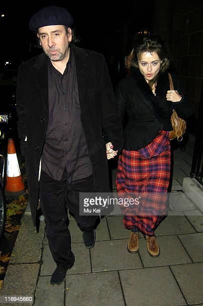 Tim Burton and Helena Bonham Carter during Celebrity Sightings at Cipriani's Restaurant in London November 24 2005 at Cipriani in London Great Britain