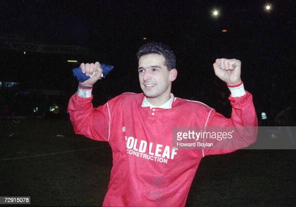 Tim Buzaglo of Isthmian League team Woking celebrates his hattrick against Second Division West Bromwich Albion in an FA Cup Third Round tie at The...