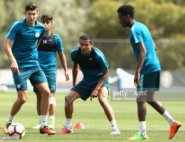 Tim Cahill completes drills with teammates during a Melbourne City FC training session at City Football Academy on March 3 2017 in Melbourne Australia