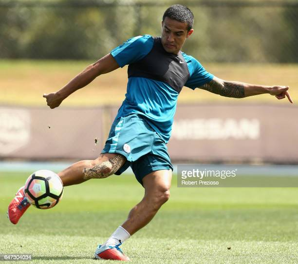 Tim Cahill kicks the ball during a Melbourne City FC training session at City Football Academy on March 3 2017 in Melbourne Australia