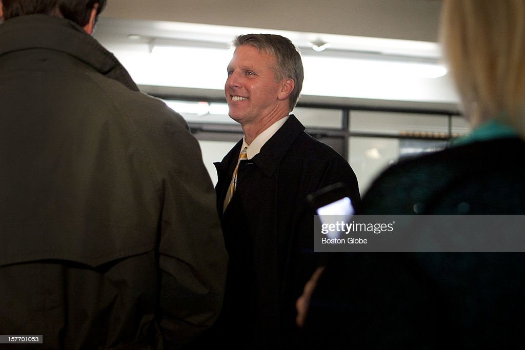 Tim Cahill leaves the courtroom after closing arguments are completed and the jury begins deliberations at Suffolk Superior Court on December 4, 2012.