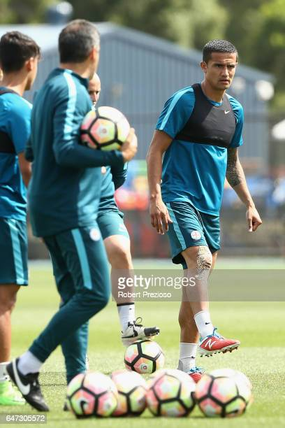 Tim Cahill looks on during a Melbourne City FC training session at City Football Academy on March 3 2017 in Melbourne Australia