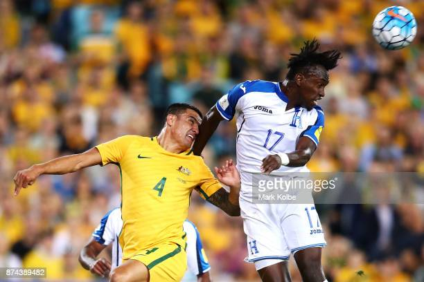 Tim Cahill of Australia and Alberth Elis of Honduras compete for the ball in the air during the 2018 FIFA World Cup Qualifiers Leg 2 match between...