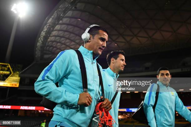 Tim Cahill of Australia arrives at the ground prior to the 2018 FIFA World Cup Qualifier match between the Australian Socceroos and Saudi Arabia at...