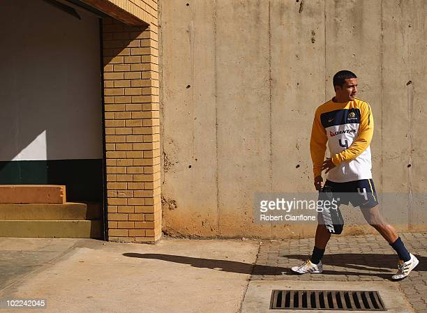 Tim Cahill of Australia arrives for an Australian Socceroos training session at Ruimsig Stadium on June 20 2010 in Roodepoort South Africa