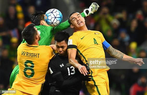 Tim Cahill of Australia attempts to head the ball during the 2018 FIFA World Cup Qualifier match between the Australian Socceroos and Thailand at...