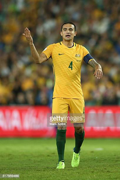 Tim Cahill of Australia calls for a Jordan player to get up during the 2018 FIFA World Cup Qualification match between the Australian Socceroos and...