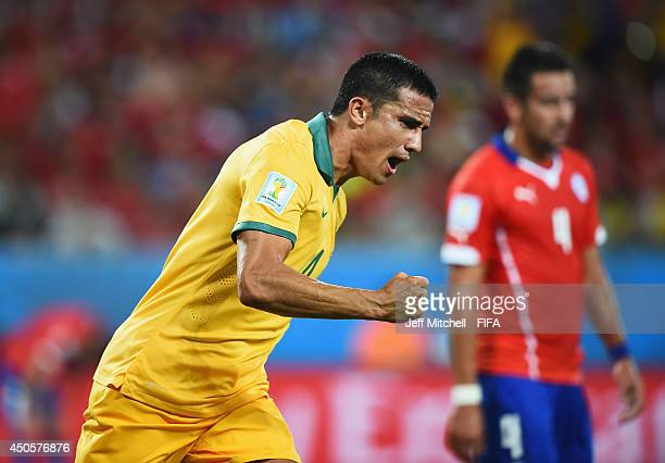 Tim Cahill of Australia celebrates after scoring a goal during the 2014 FIFA World Cup Brazil Group B match between Chile and Australia at Arena...