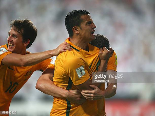 Tim Cahill of Australia celebrates after scoring his teams first goal during the 2018 FIFA World Cup Qualifier match between UAE and Australia at...