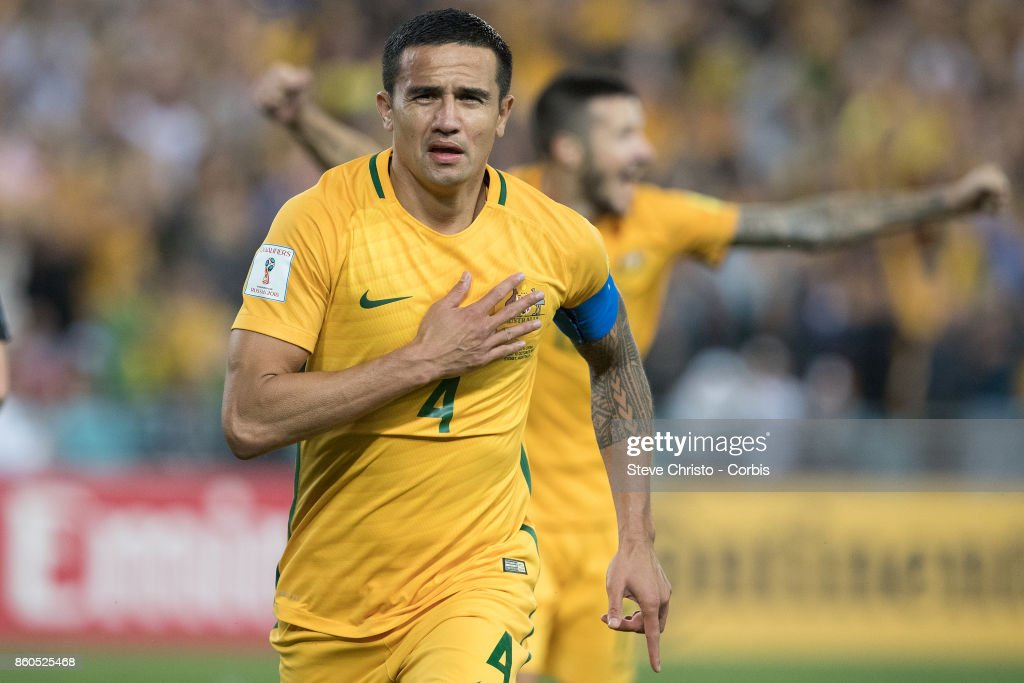 Tim Cahill of Australia celebrates his 50th goal for his country during the 2018 FIFA World Cup Asian Playoff match between the Australian Socceroos and Syria at ANZ Stadium on October 10, 2017 in Sydney, Australia.