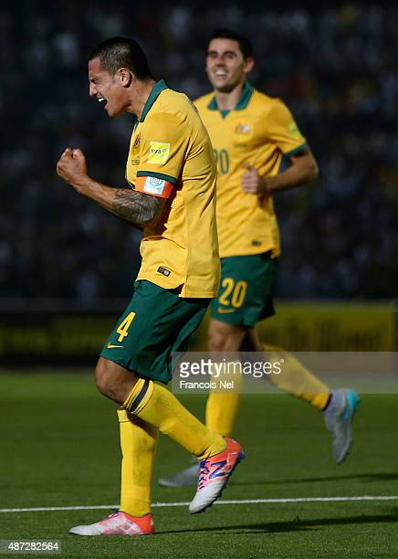 Tim Cahill of Australia celebrates his goal during the 2018 FIFA World Cup Qualifier match between the Australian Socceroos and Tajikistan at Central...