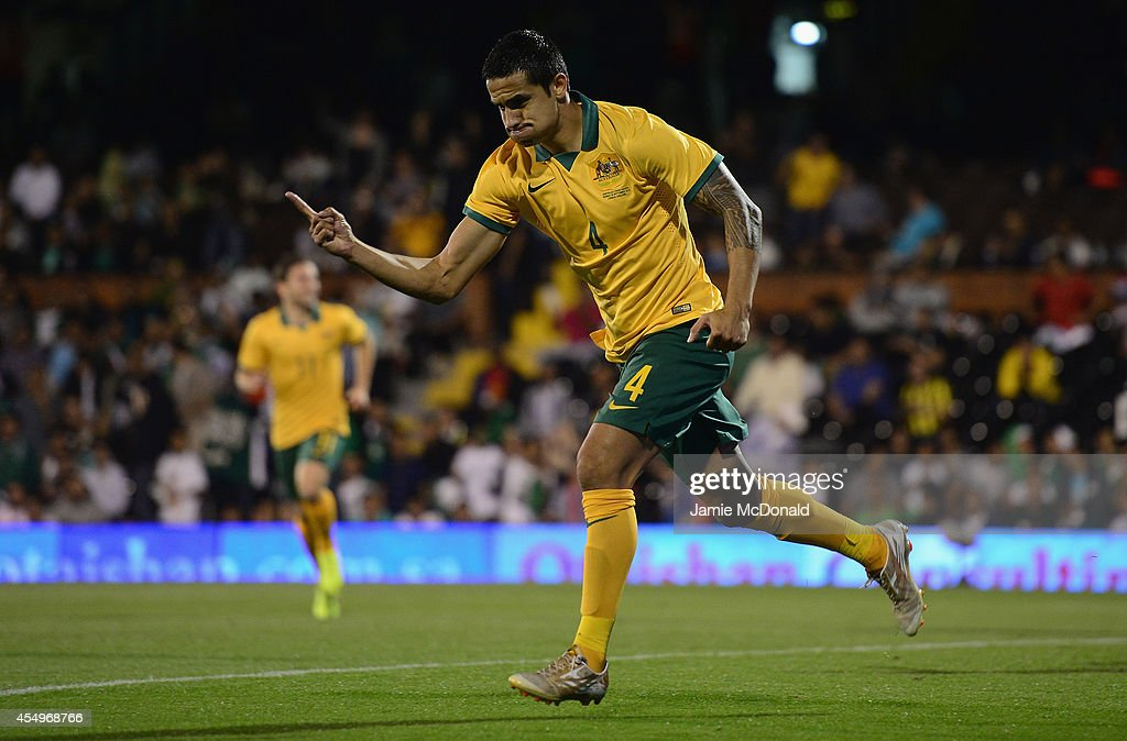 Tim Cahill of Australia celebrates his goal during the International Friendly match between Saudi Arabia and Australia at Craven Cottage on September 8, 2014 in London, England.
